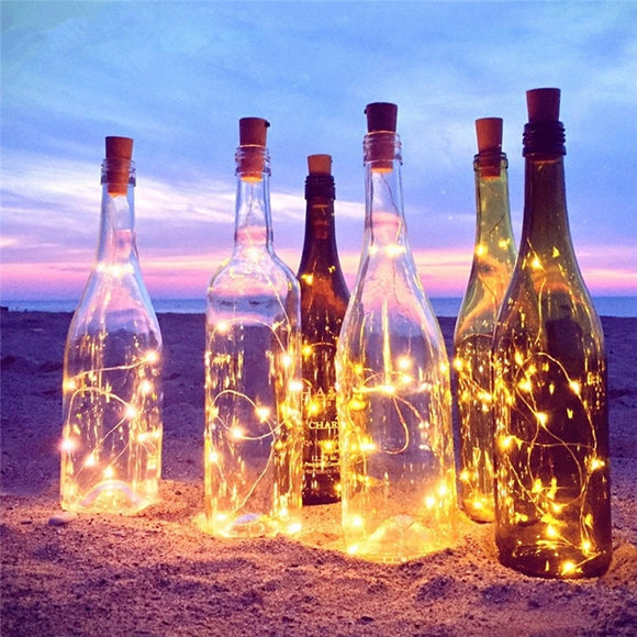 CLAITE 2M 20LED 3 Modes Sliver Wire Bottle LED String Light Battery Powered Glass Wine Cork Lamp