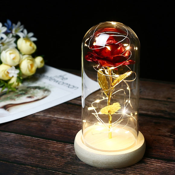LED Light up Artificial Rose Flower In Glass Dome Dried Flowers Decorations