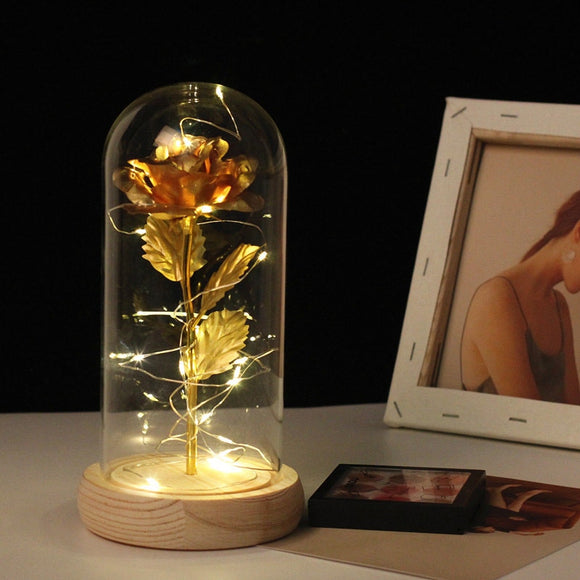 LED Light up Artificial Rose Flower In Glass Dome Home Decor