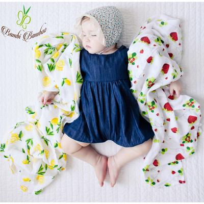 Baby with Lemon and Strawberry Muslin Cotton Swaddle Set