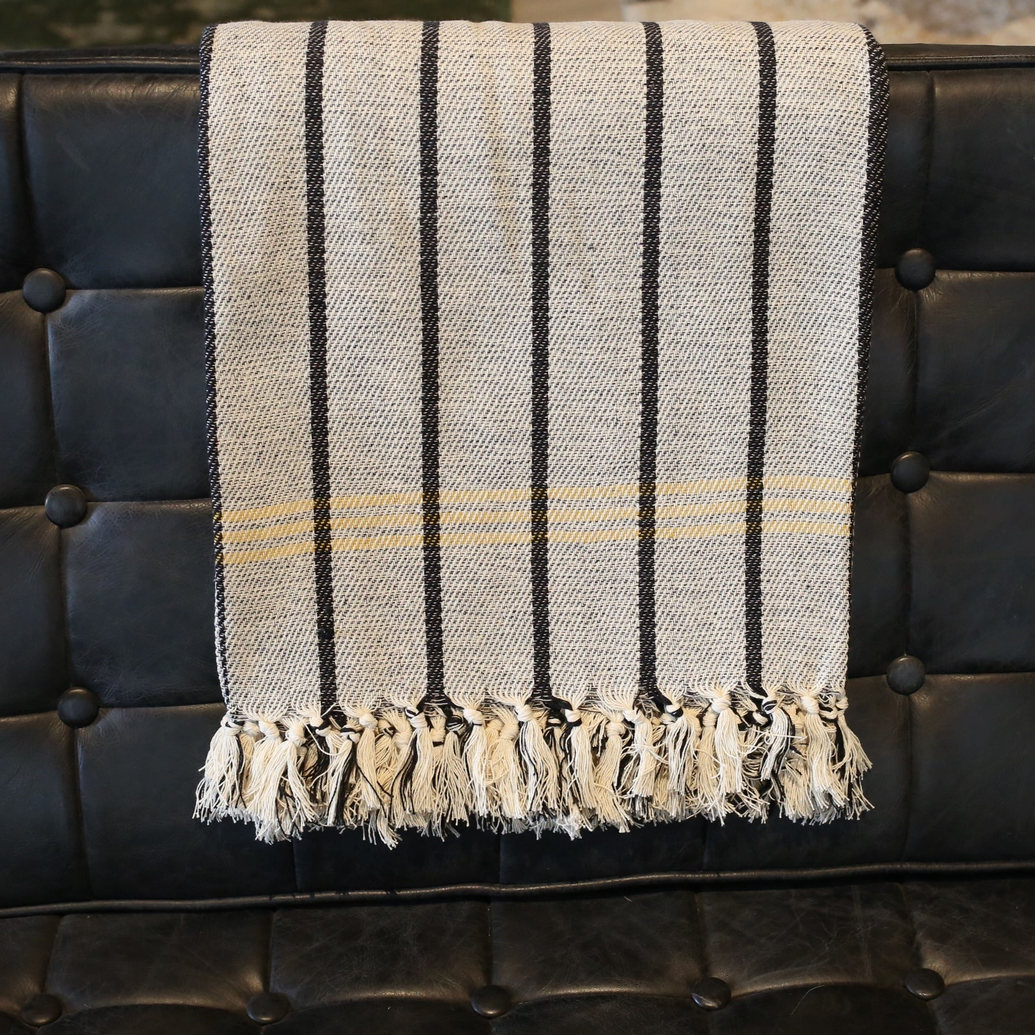 Striped Tassel Throw Blankets