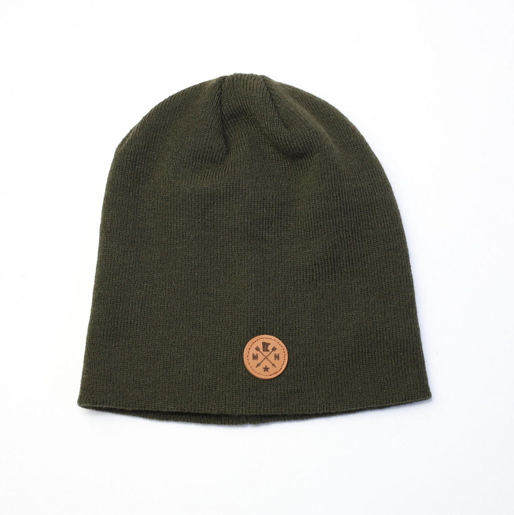 forest green beanie with leather patch patina stores patina stores