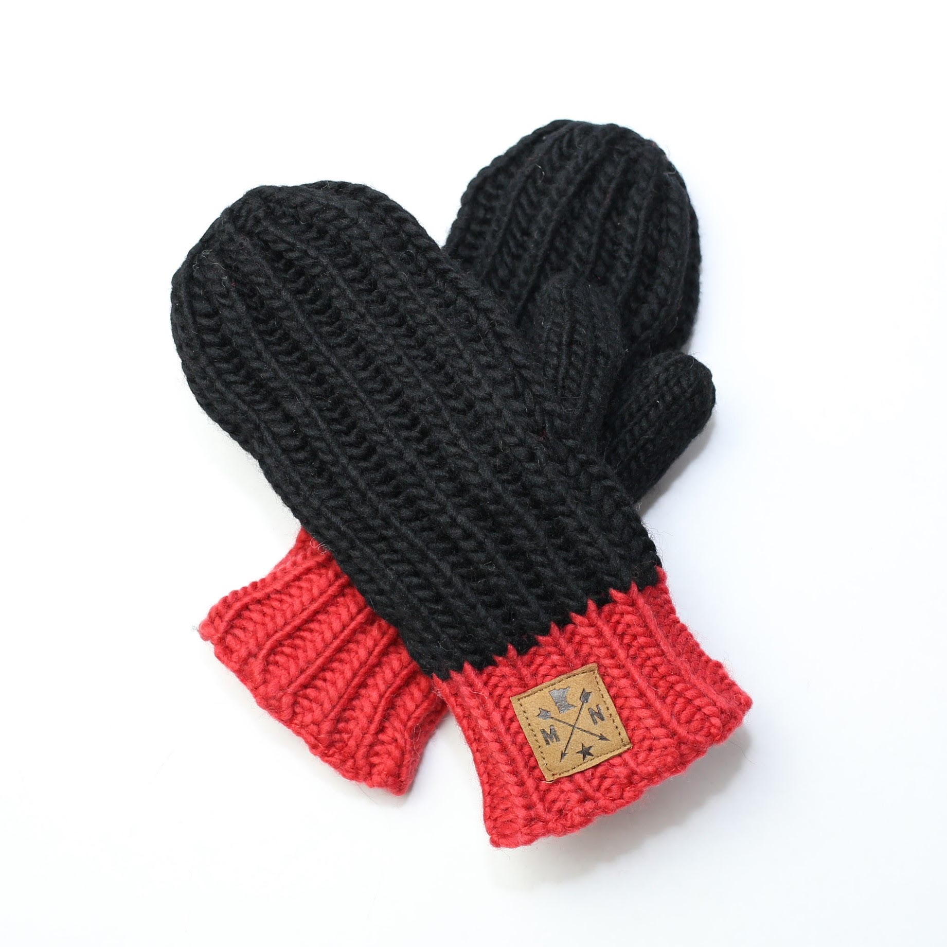 Black & Red Knit Mittens