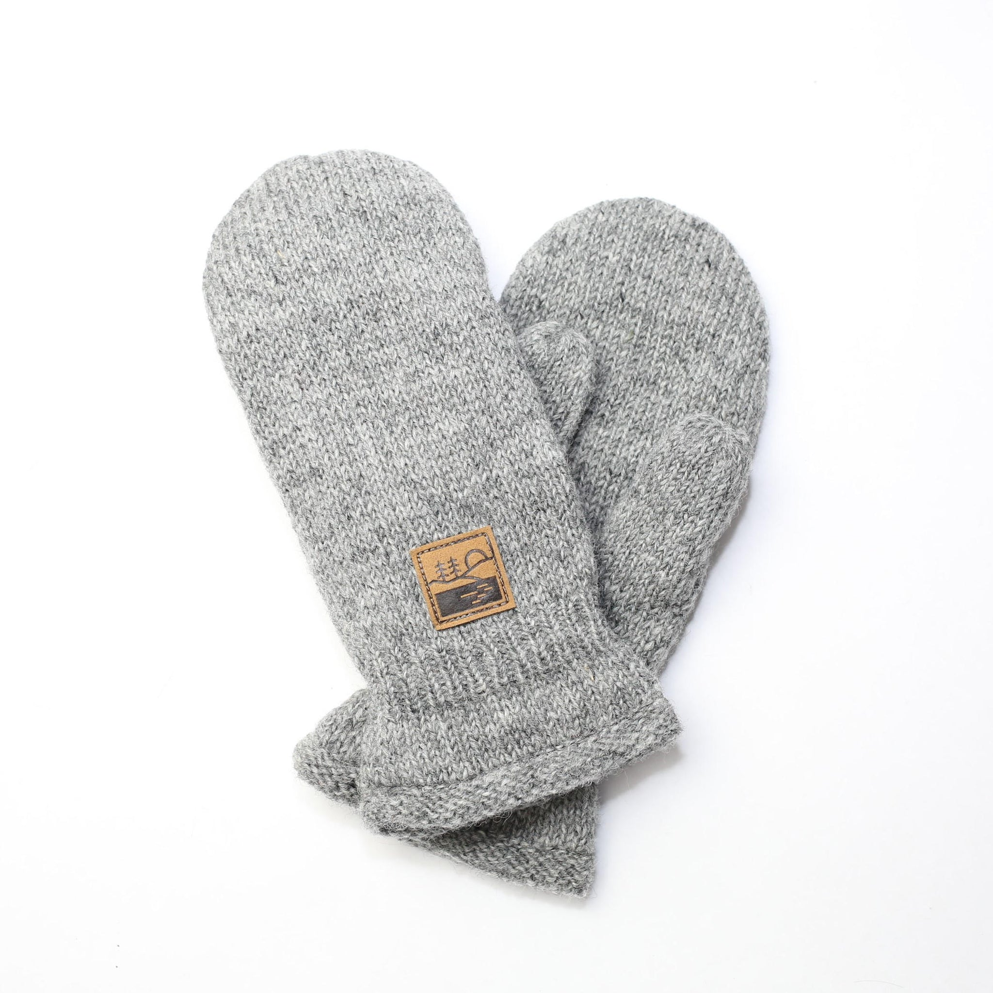 Grey Knit Patch Mitten
