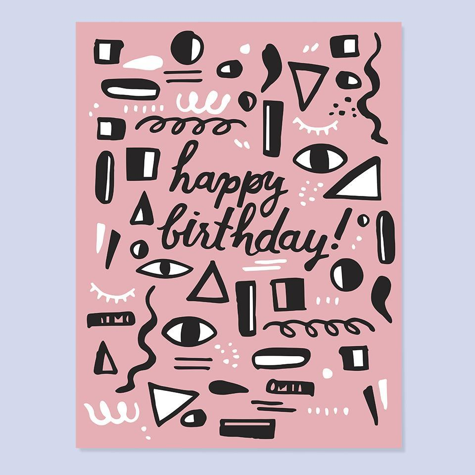 Pink Shapes & Squiggles Birthday Card