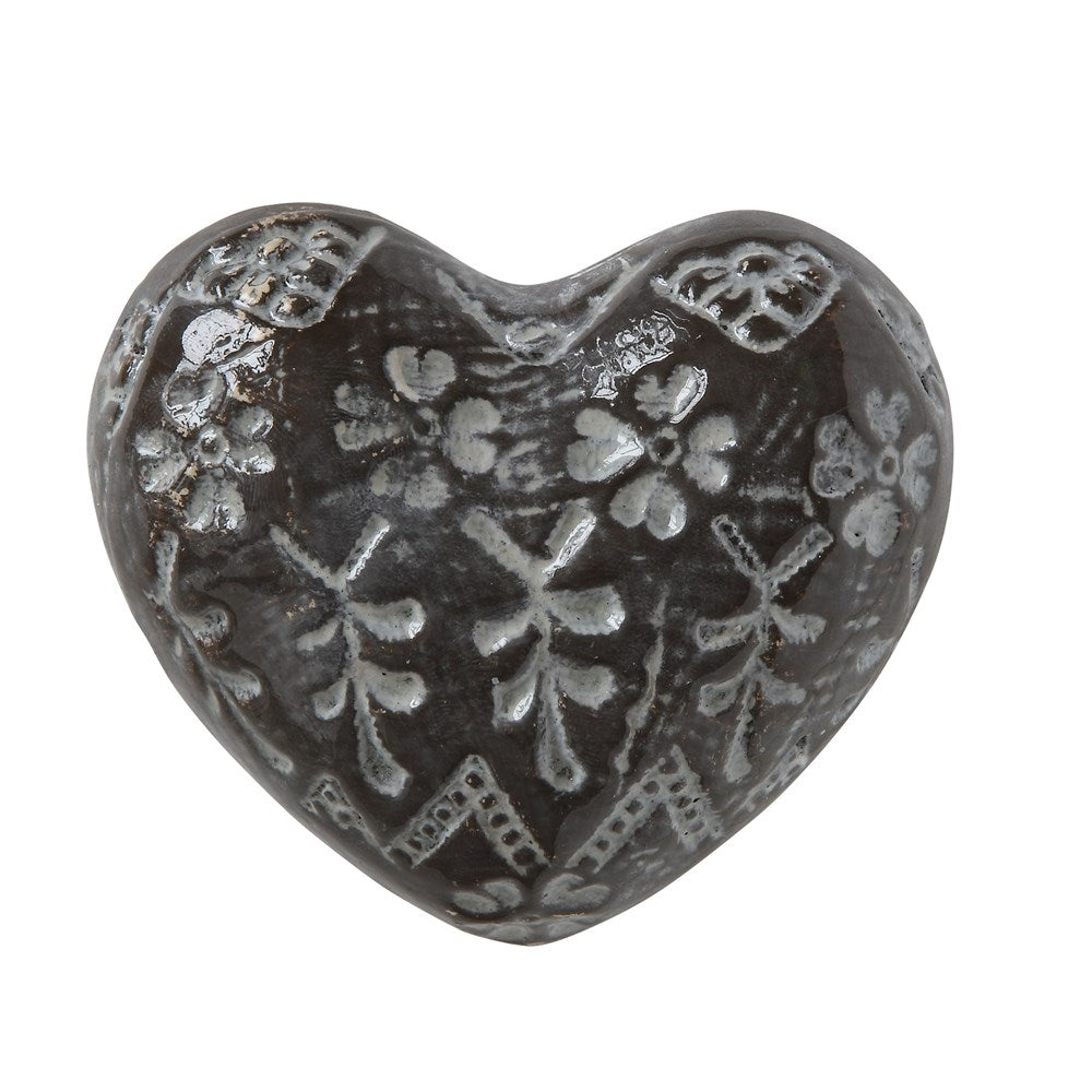 Stoneware Embossed Brown Heart