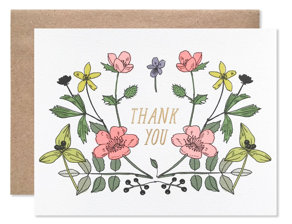 Watercolor Wildflowers Thank You Card