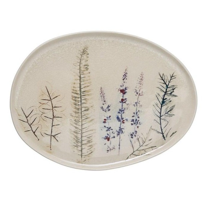 Floral Stoneware Tray