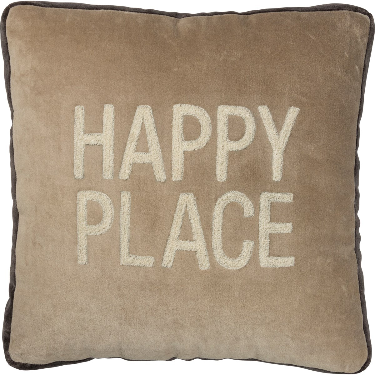 Brown Happy Place Pillow