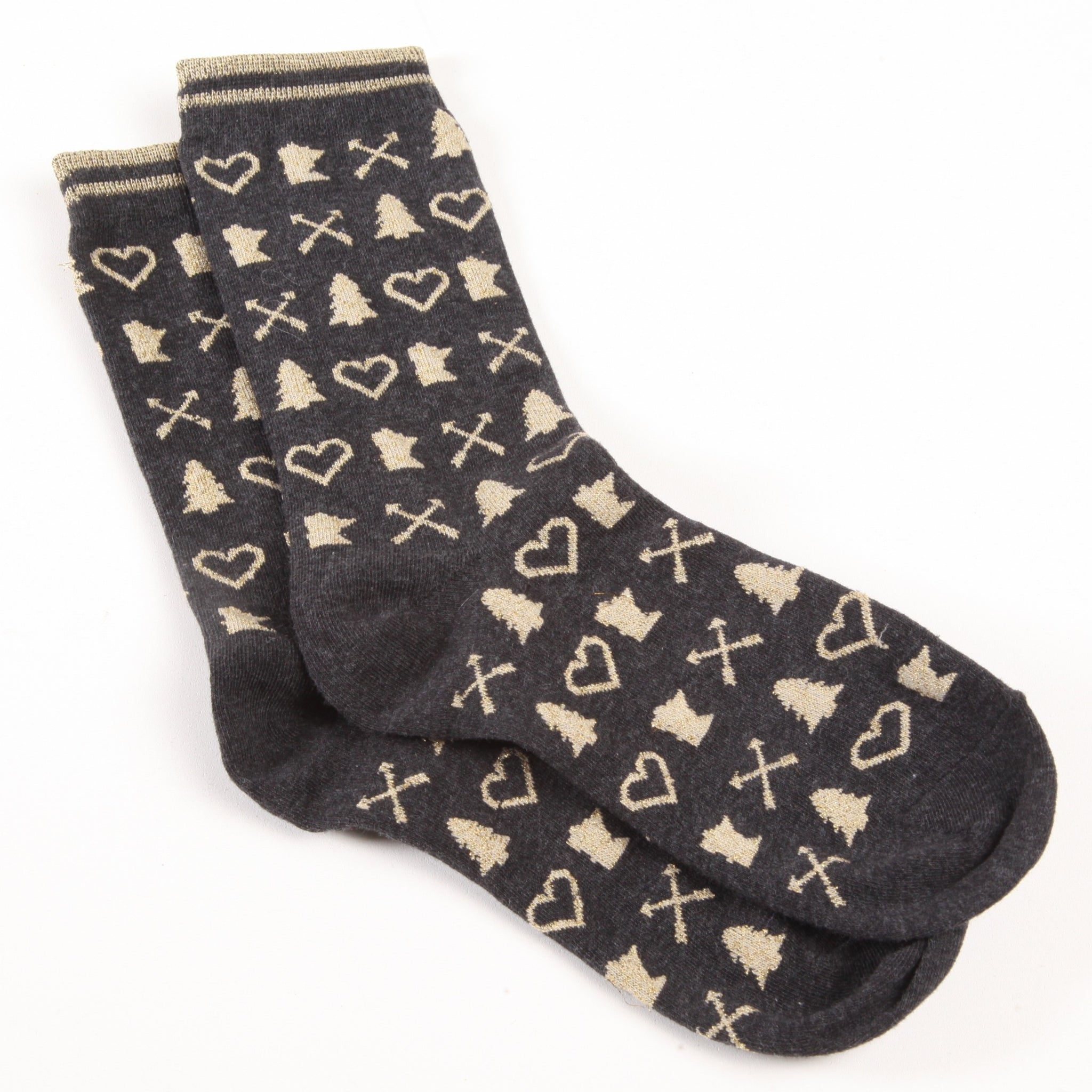 Women's Gold Metallic MN Sock