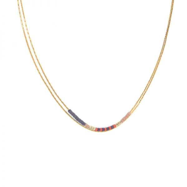 Double Layer Navy & Coral Bead Necklace