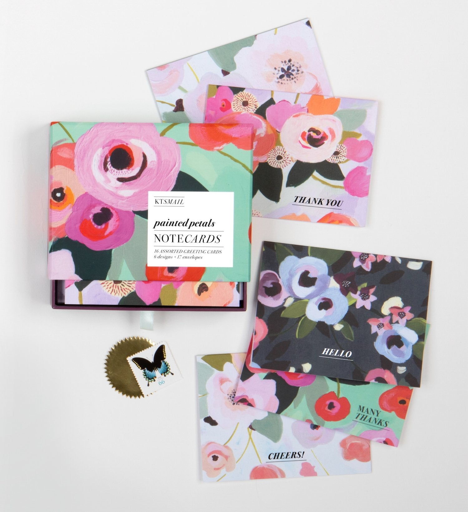 Painted Petals Blank Boxed Cards
