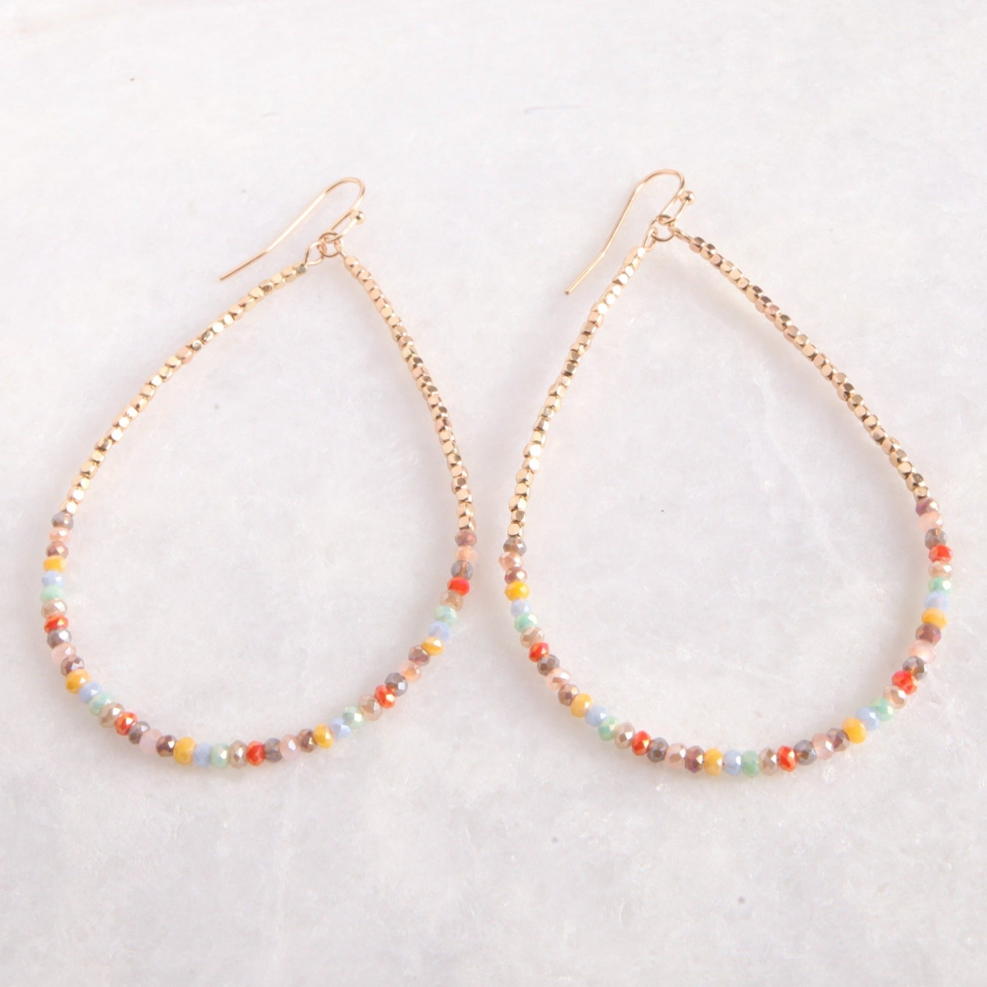 Multicolored Beaded Loop Earring