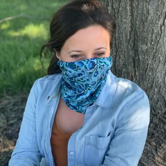 Teal Floral Printed Face Gaiter
