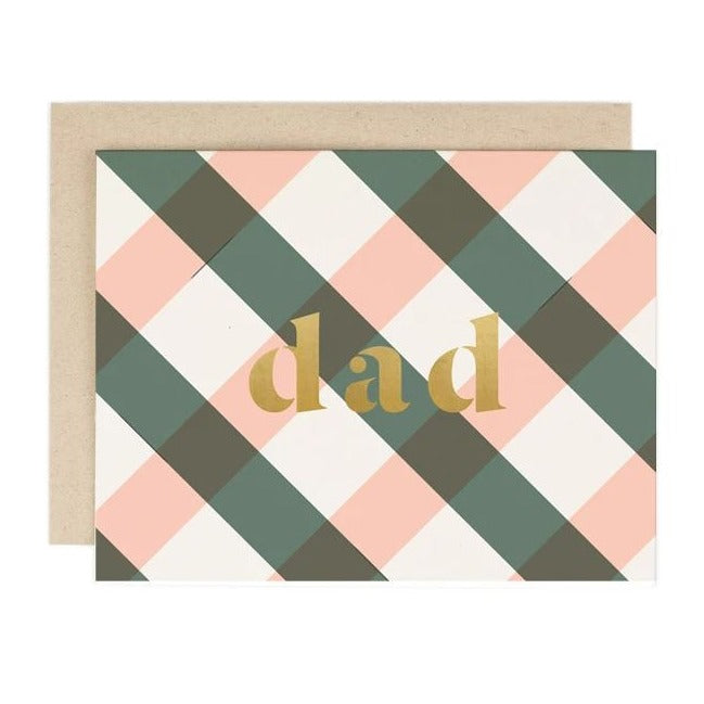 Pink & Green Plaid Dad Father's Day Card
