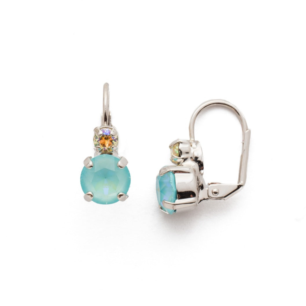 Teal Double Crystal Earring