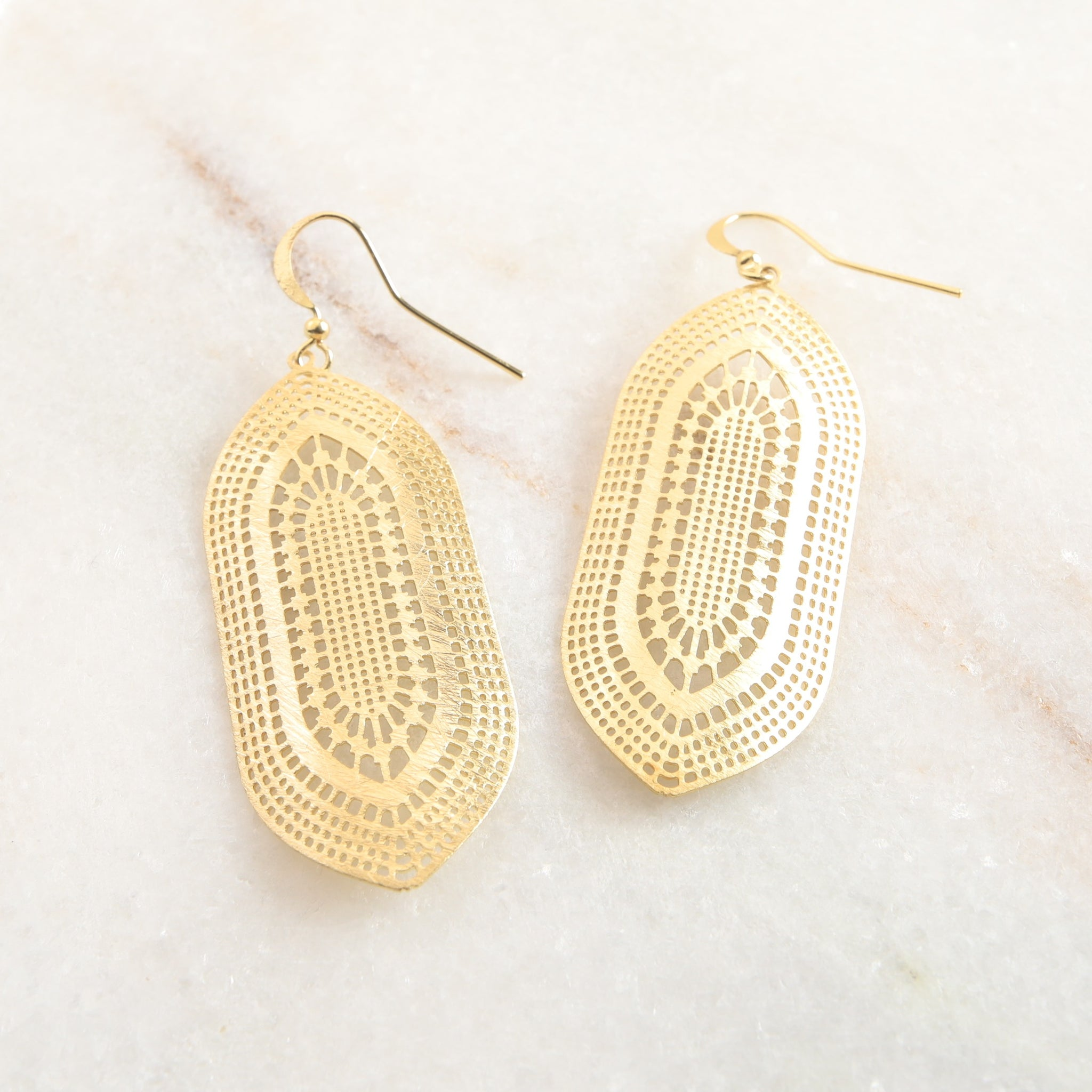 Gold Cut Medallion Earring