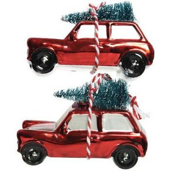 Christmas Red Glass Car Ornament