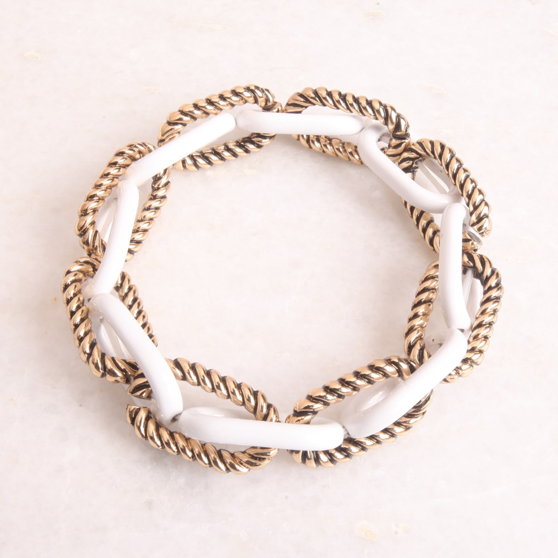 Gold & White Chain Bracelet