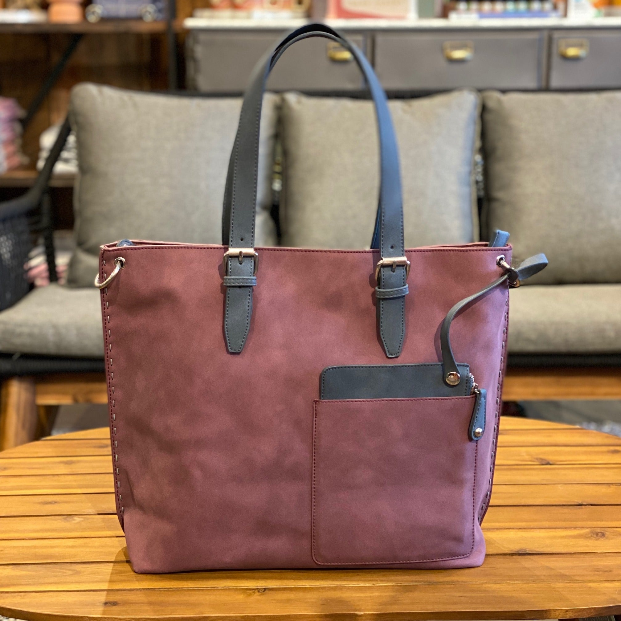 Wine Vegan Leather Tote Bag