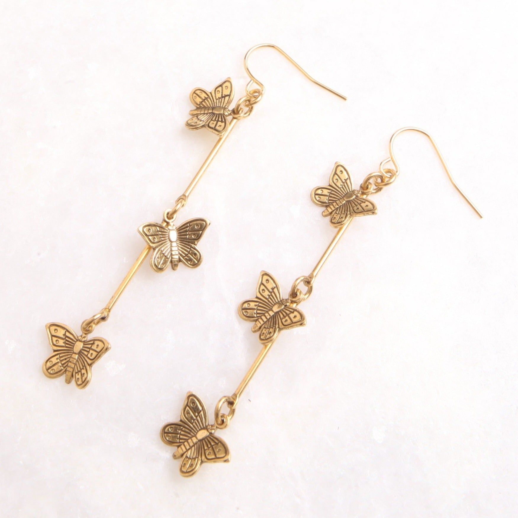 Triple Butterfly Drop Earring
