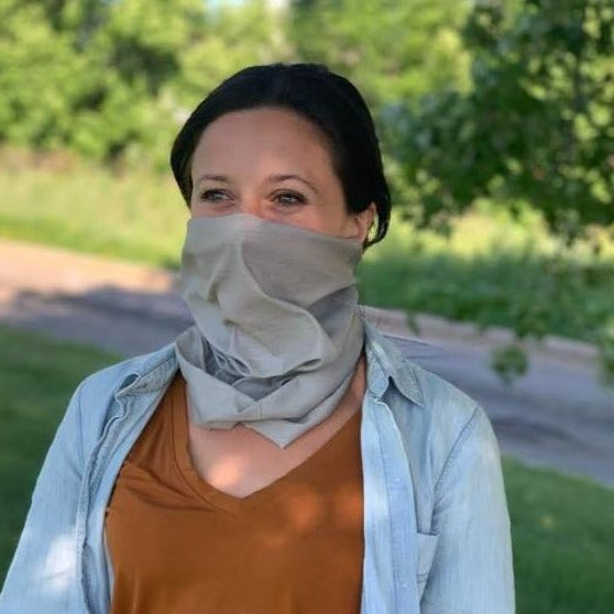 Light Grey Solid Print Face Gaiter