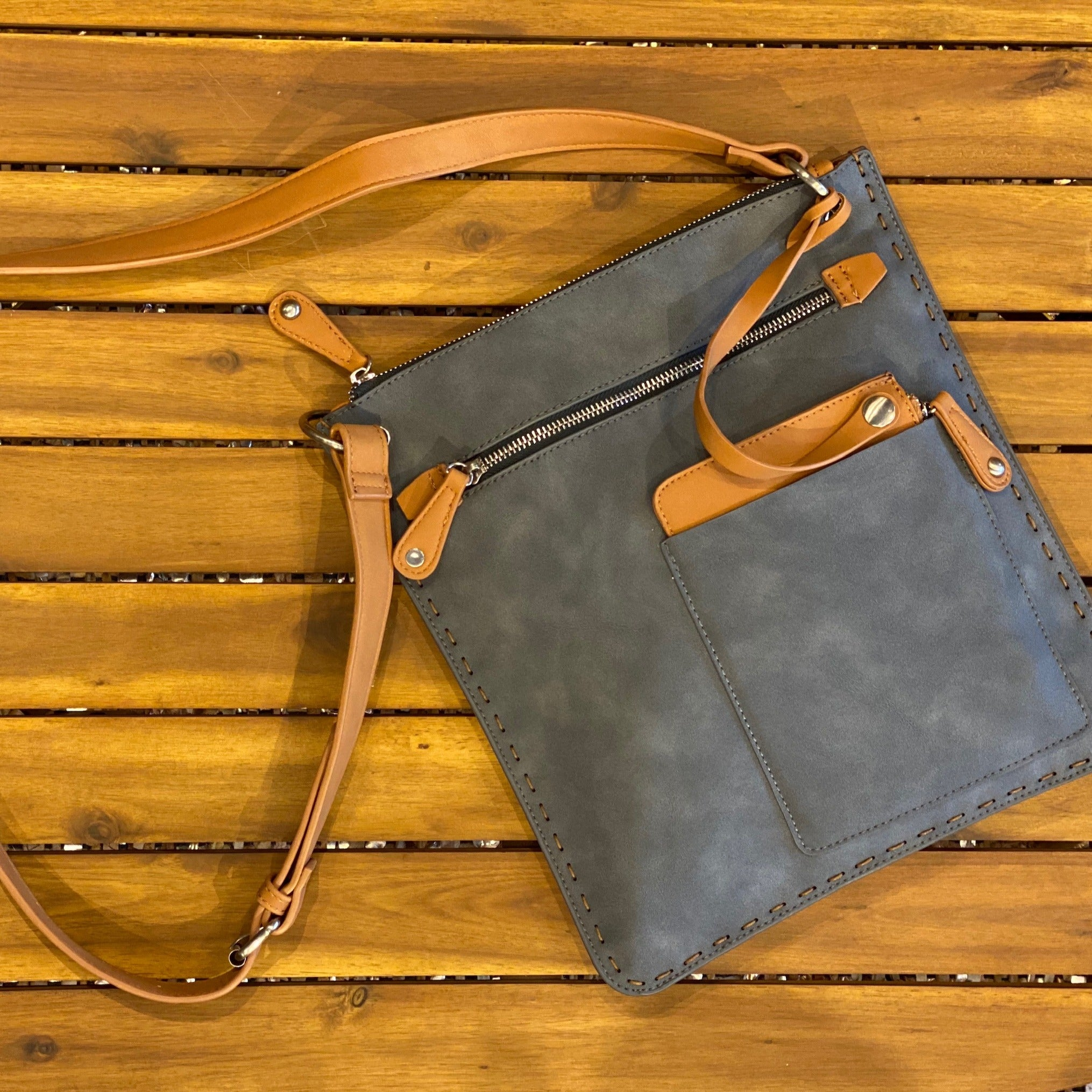 Steel Vegan Leather Crossbody Bag