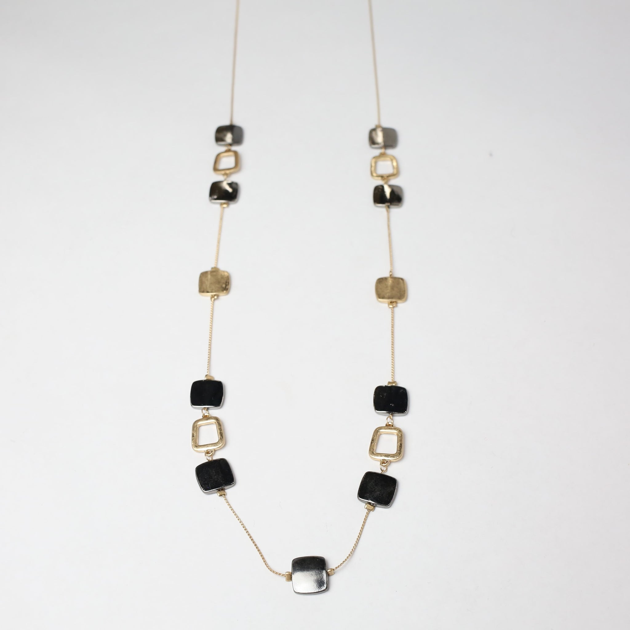 Mixed Metal Squares Long Necklace