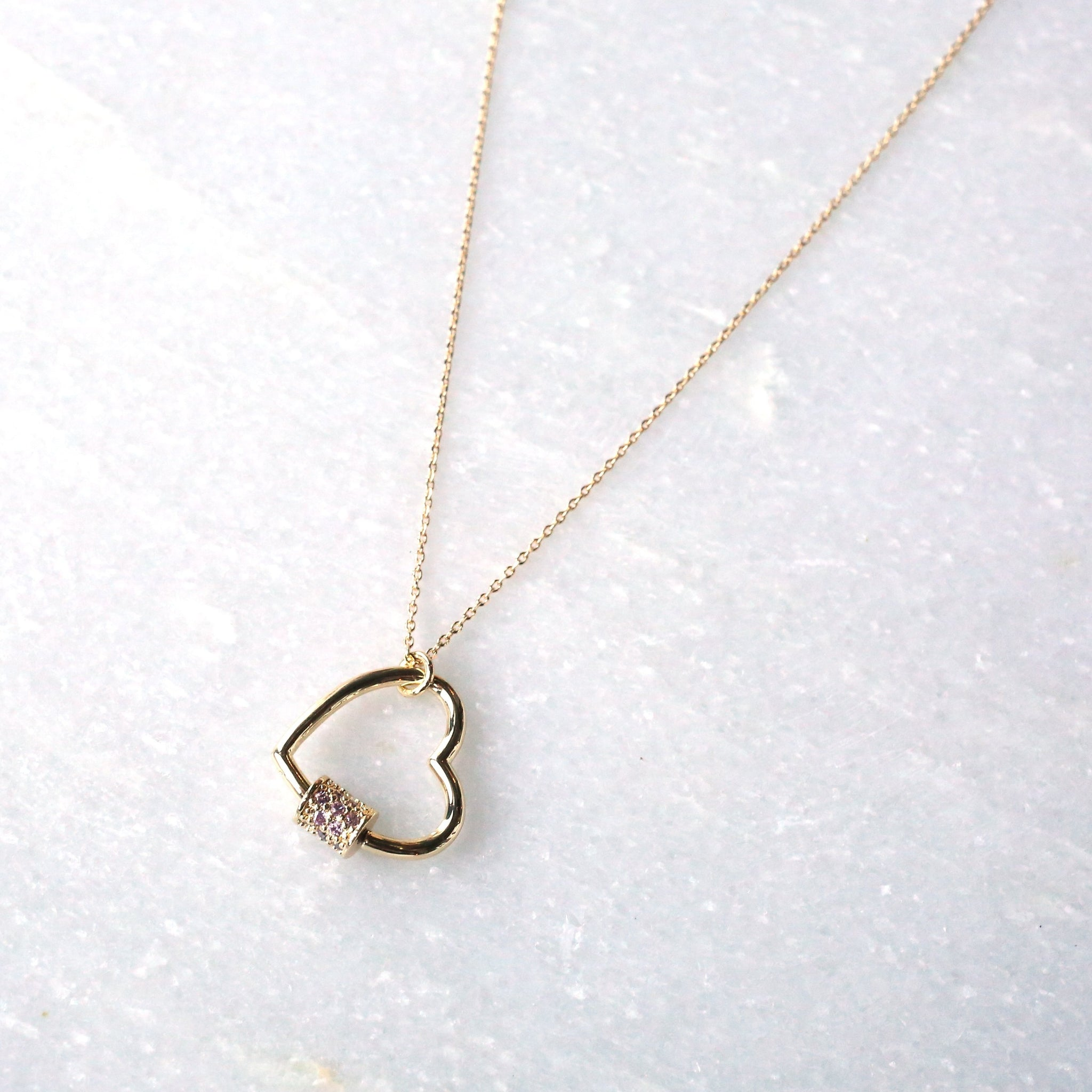 Gold Heart Carabiner Necklace
