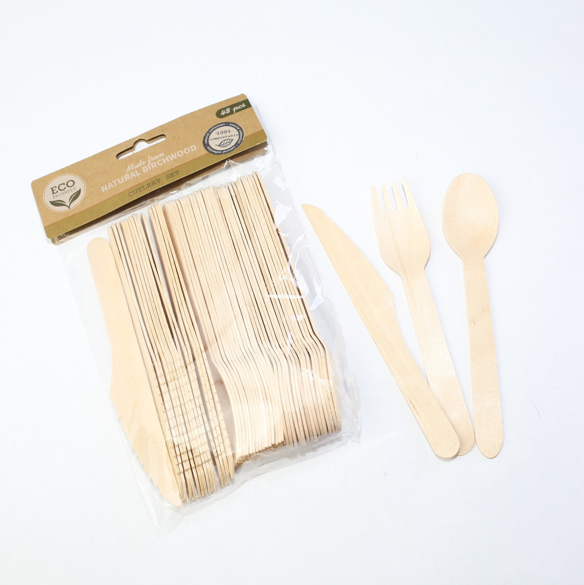 Birch Wood Cutlery Set - 48 pieces