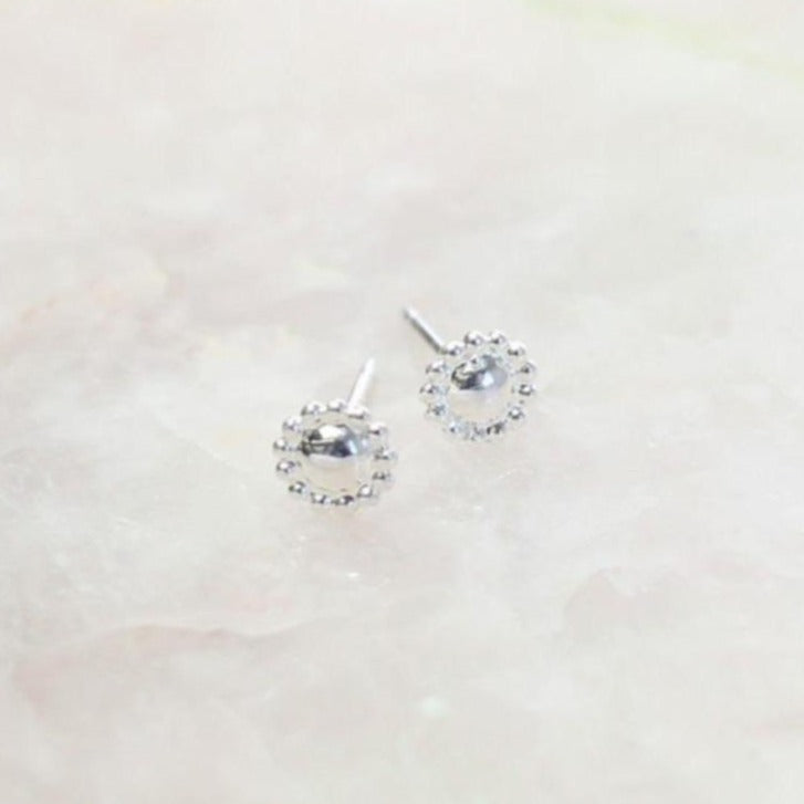 Silver Button Post Earring