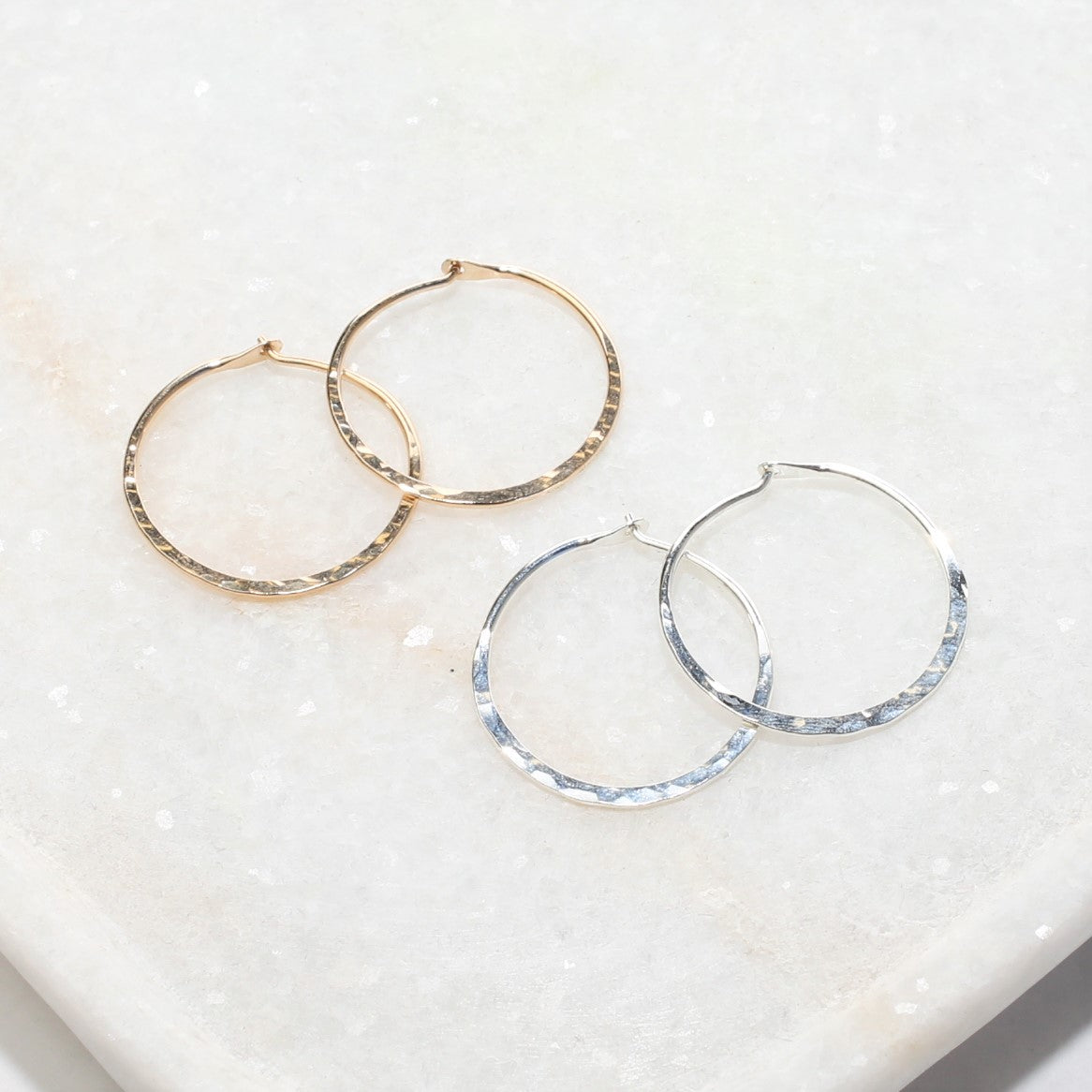 Small Hammered Hoop Earring