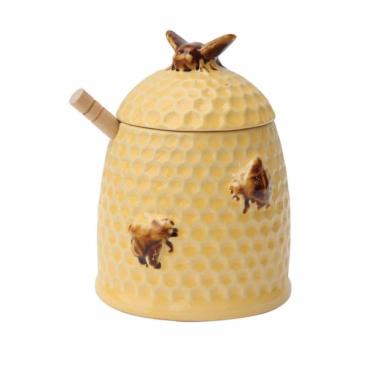 Yellow Bee Honey Pot w/ Wood Honey Dipper