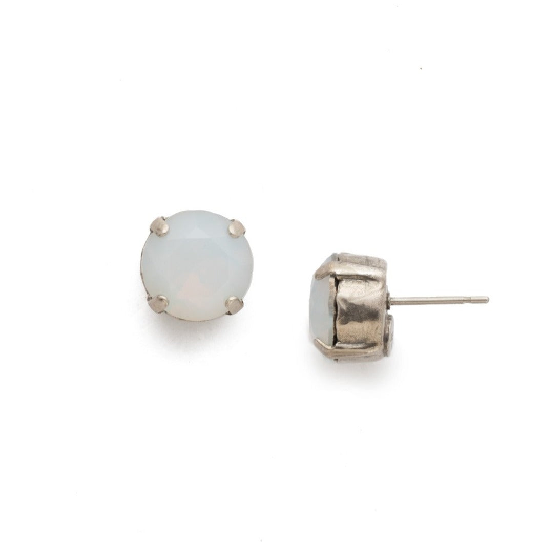 White Opal Post Earring