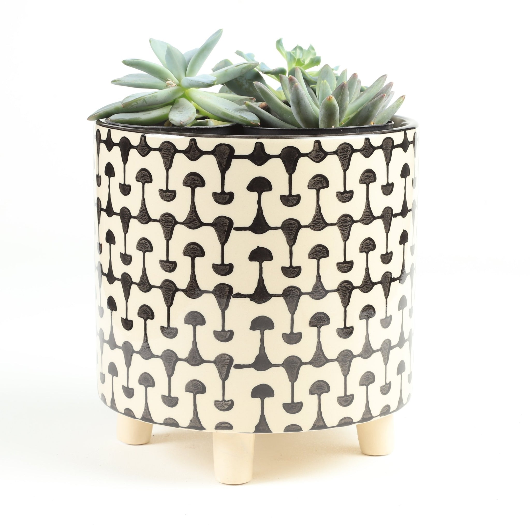 "8"" Black & White Pot"