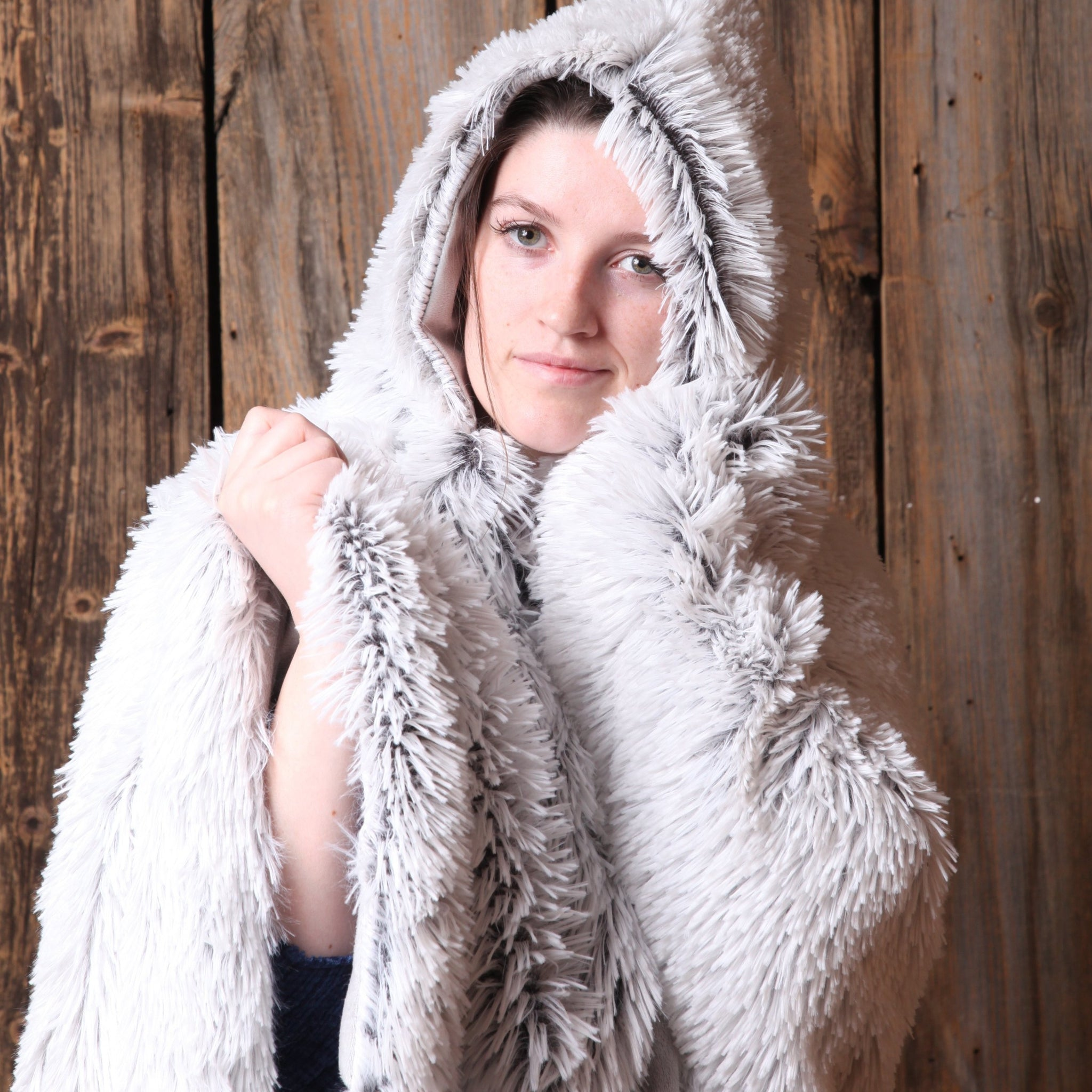 Steel Hooded Sherpa Blanket