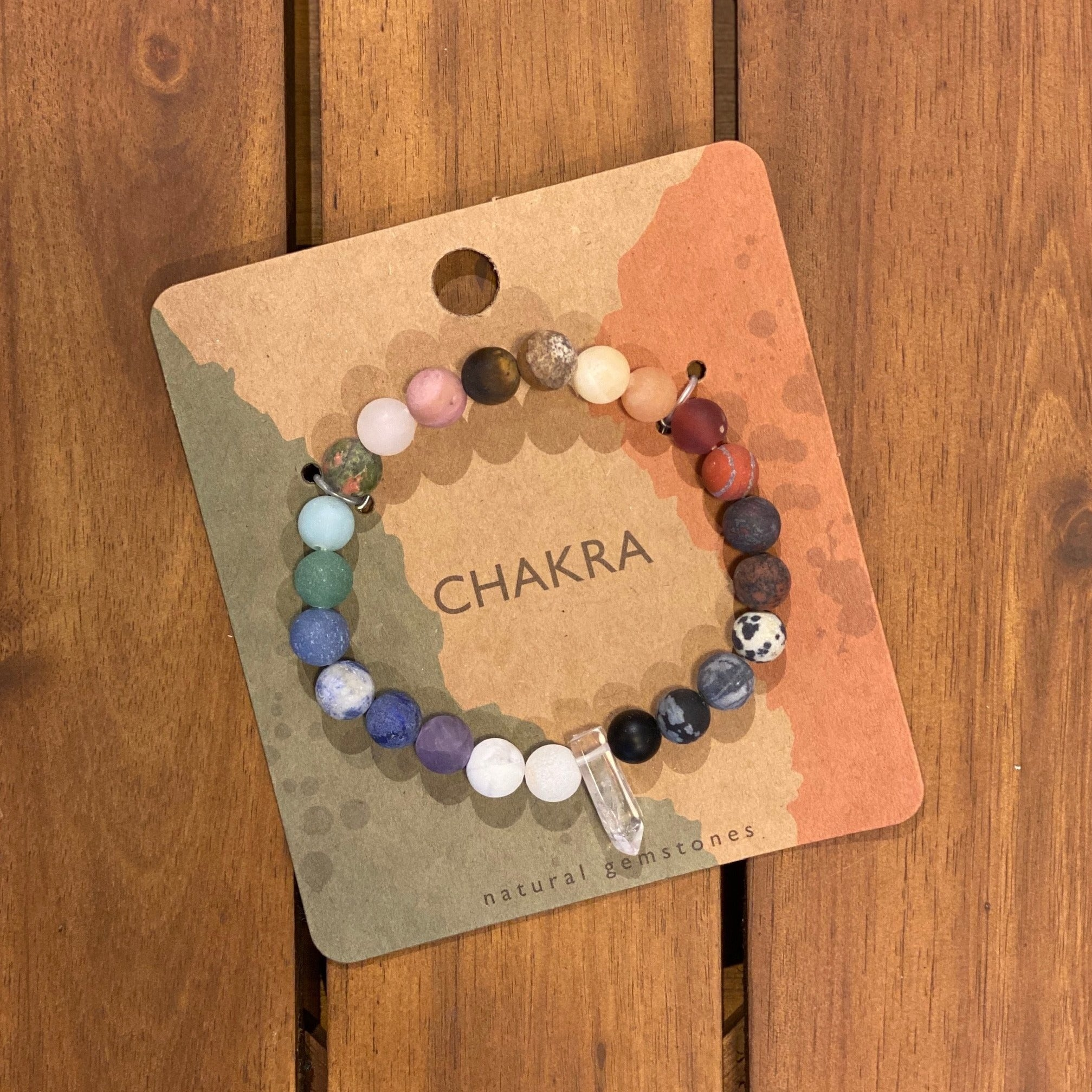 Chakra Beaded Bracelet with Crystal