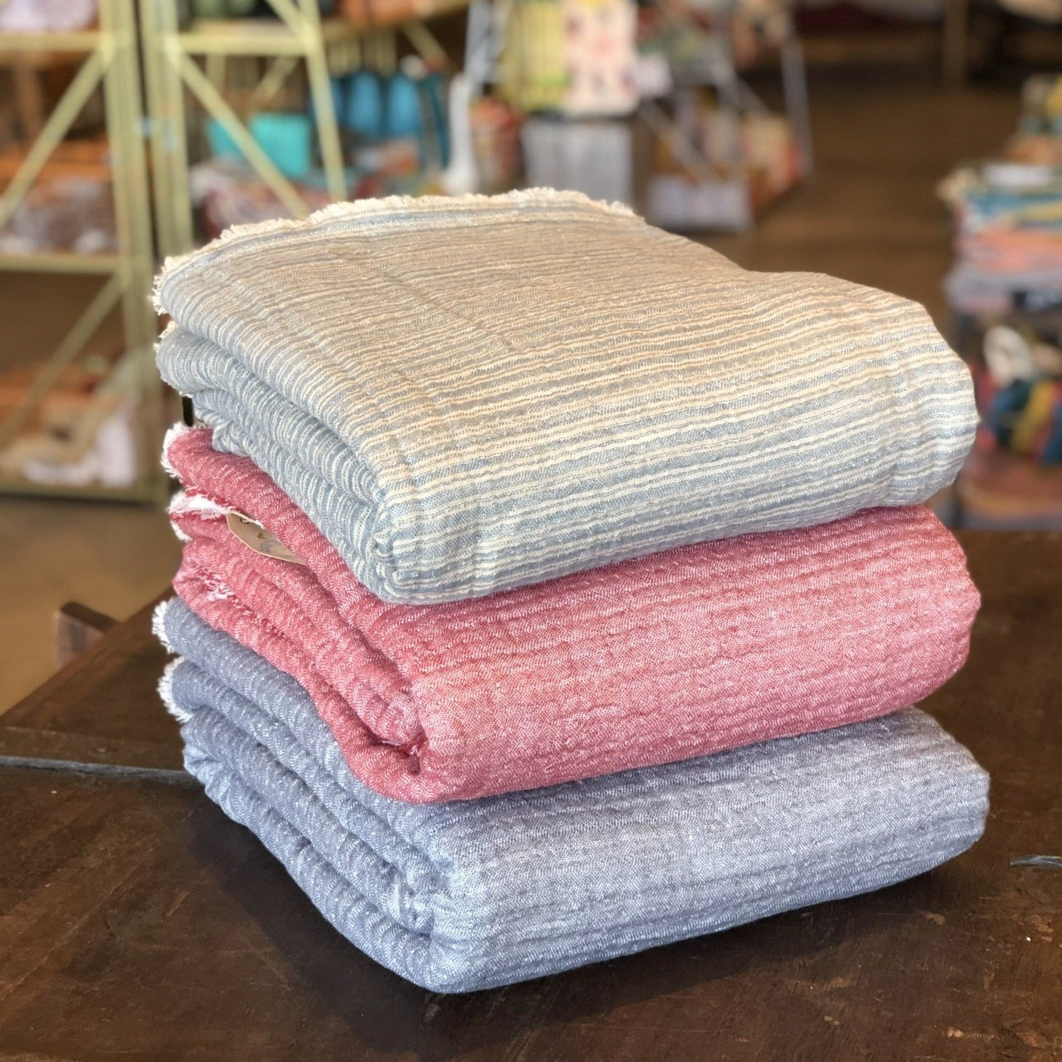 Cotton Linen Blanket with Sherpa