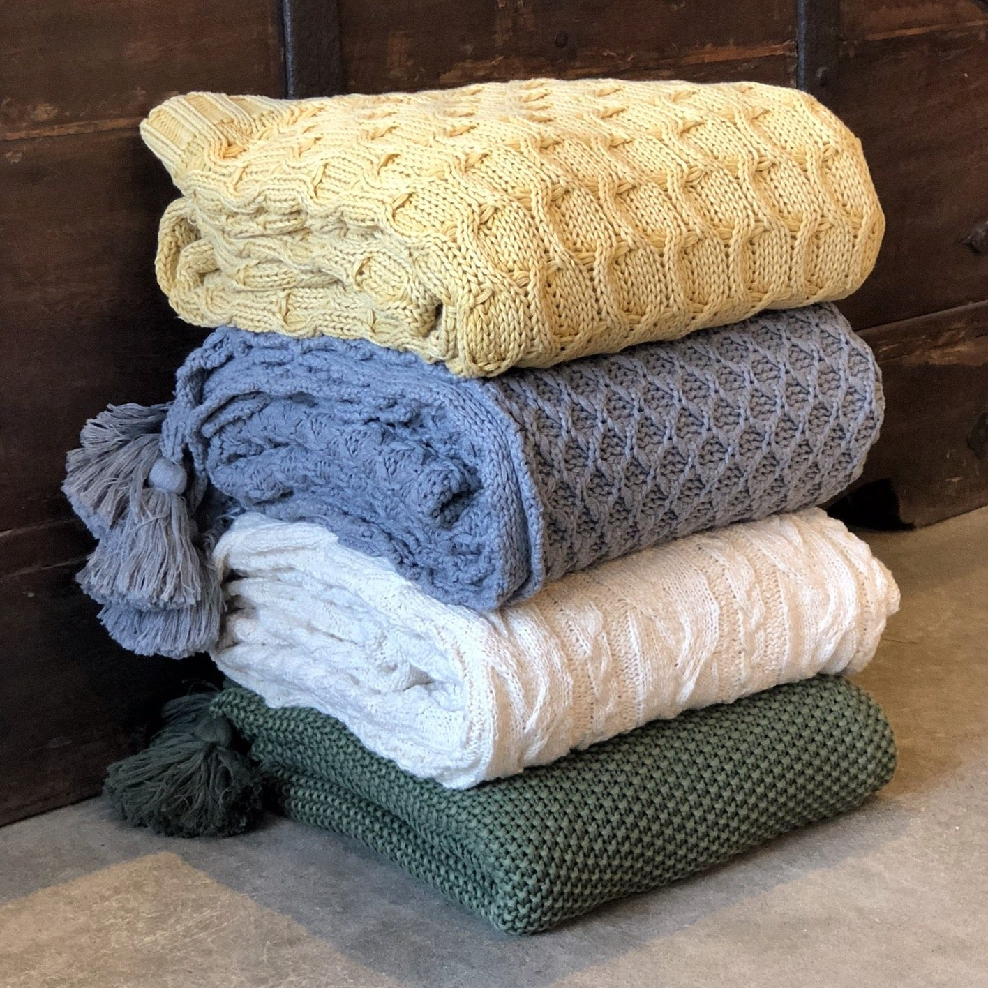 Textured Knit Cotton Throw Blankets