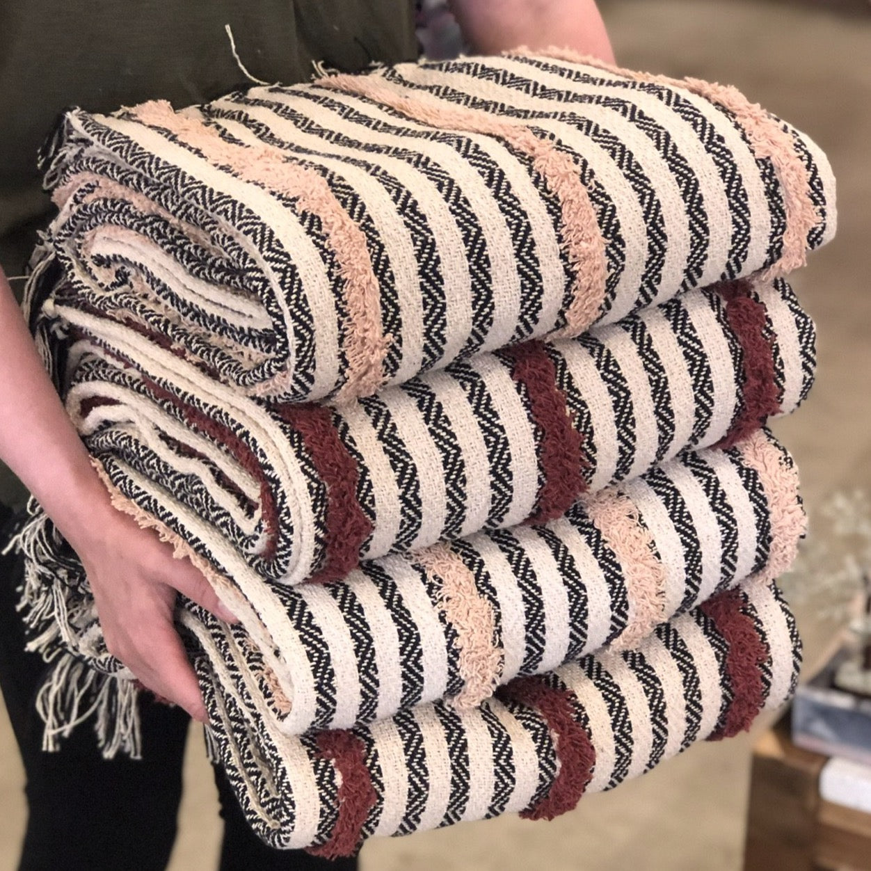 Tufted Cotton Stripe Throw Blanket