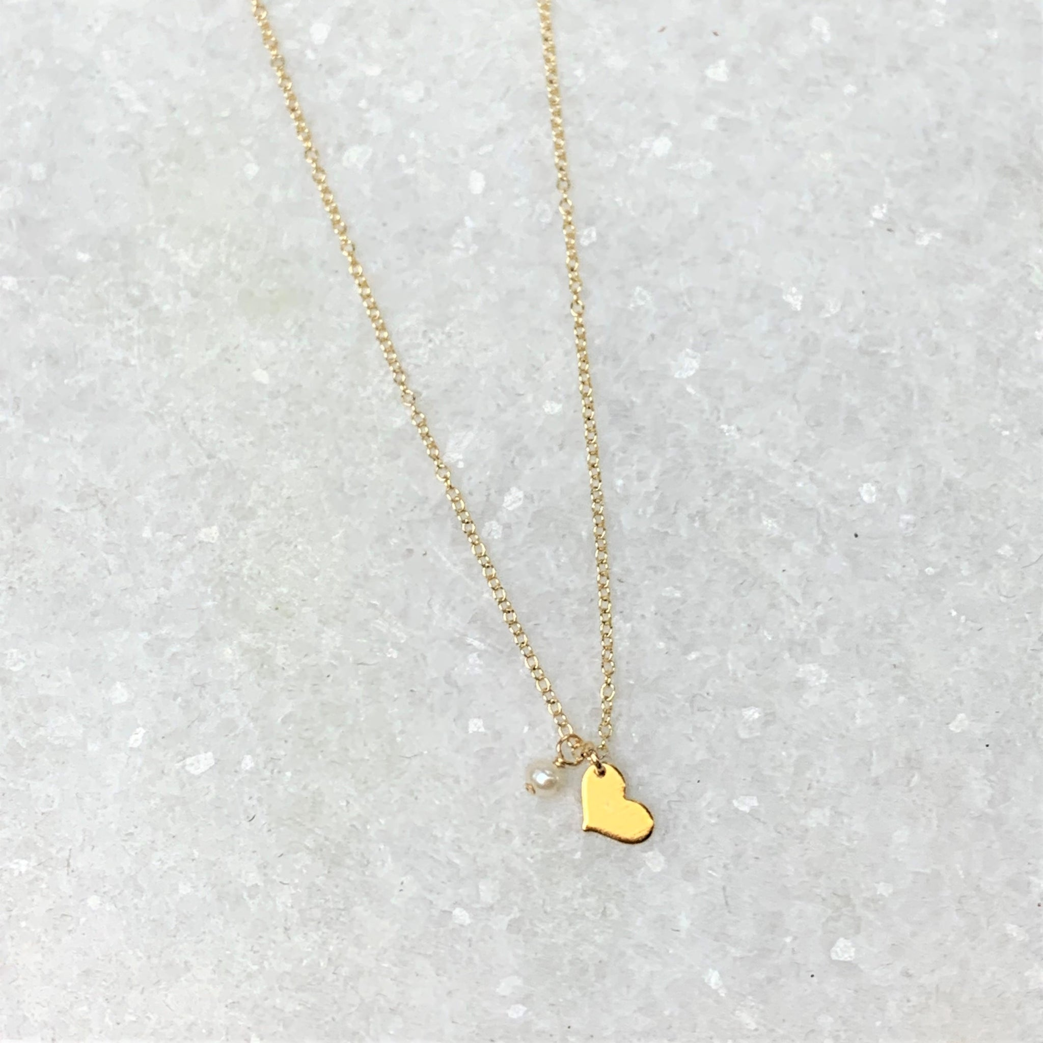 Tiny Heart and Pearl Necklace