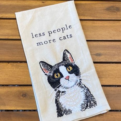 Less People More Cats Tea Towel