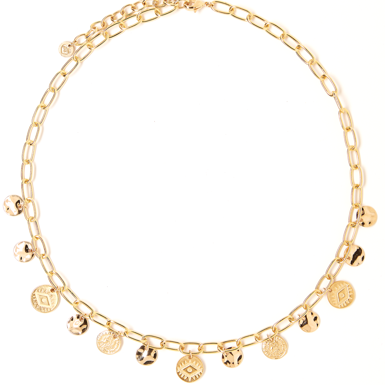 Golden Coin Charm Necklace