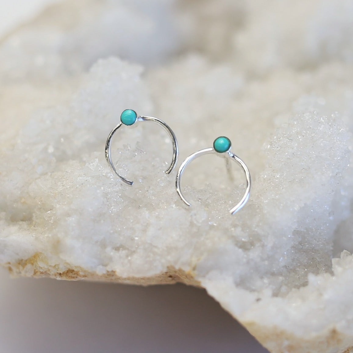Open Circle Stone Earring