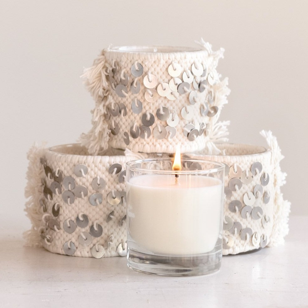 Glass Candle in Sequin Sleeve