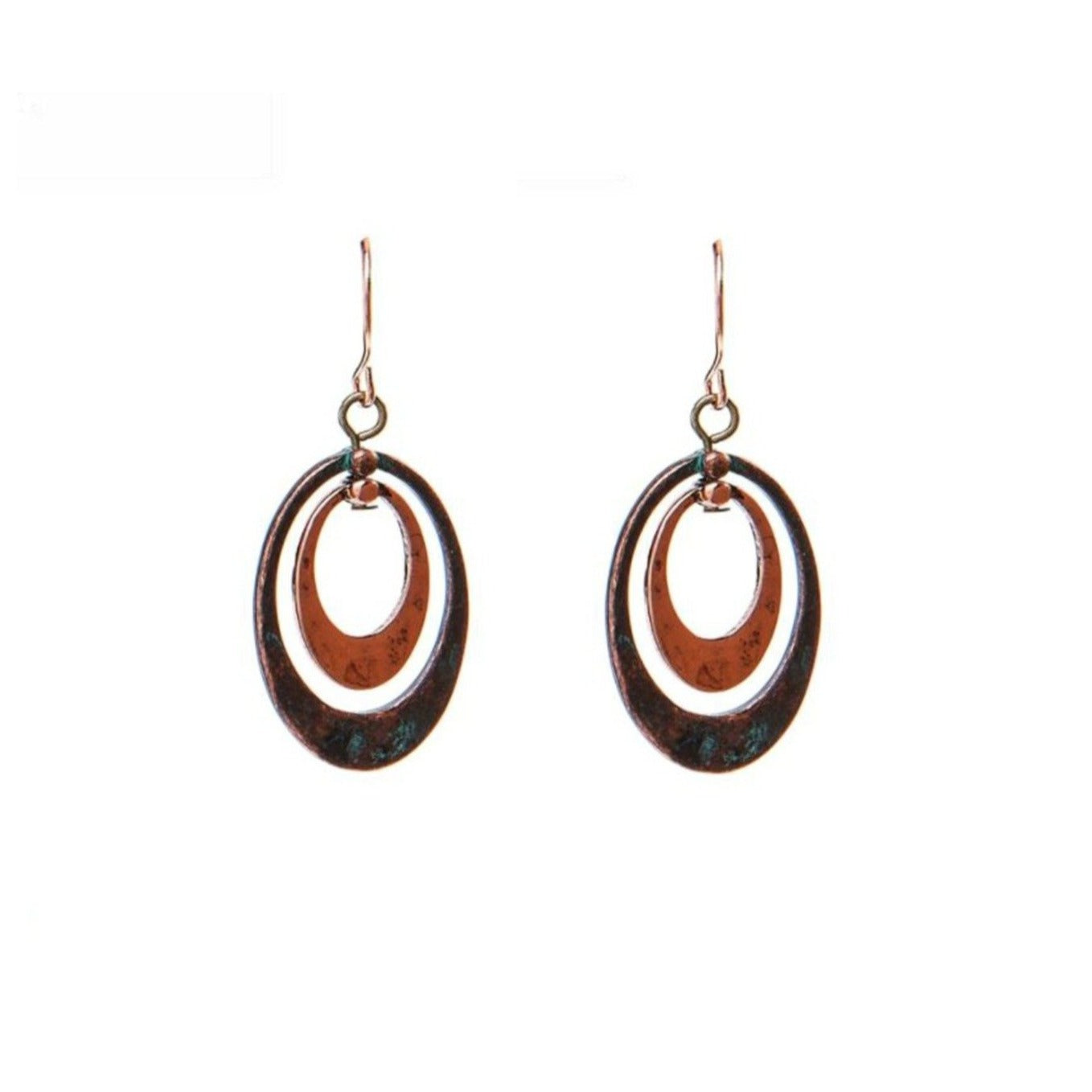 Patina Copper Double Oval Earring