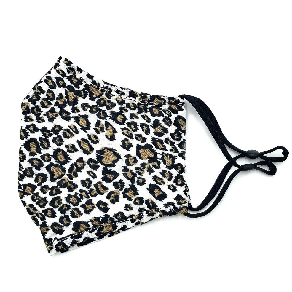 White & Gold Leopard Face Mask