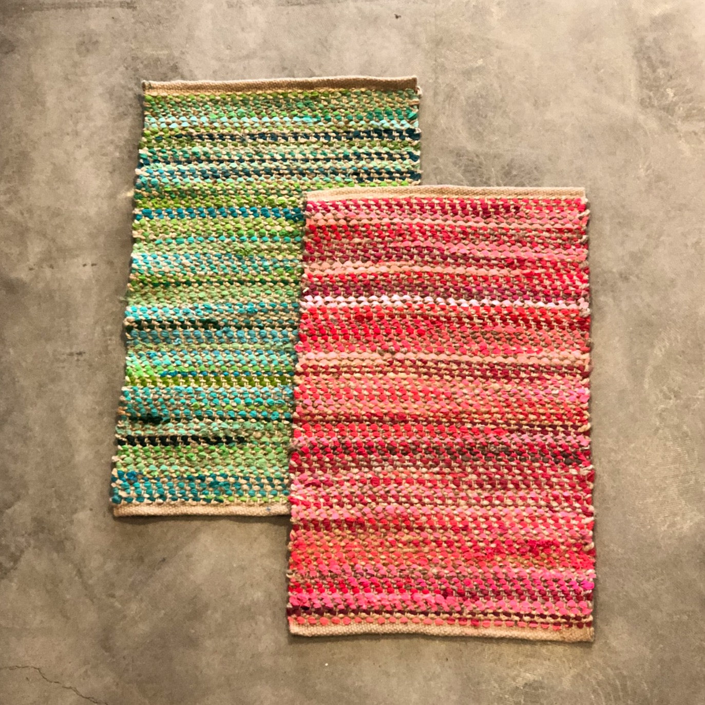 Hand Loomed Cotton & Jute Rugs - Small
