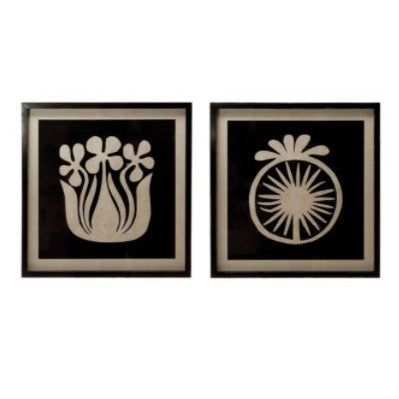 Black & White Abstract Flower Wall Art