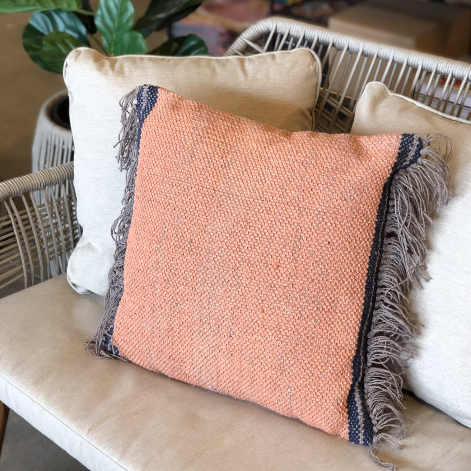 Rust Cotton Pillow with Fringe